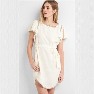 Gap White Flutter Boho Belted Dress w Pockets